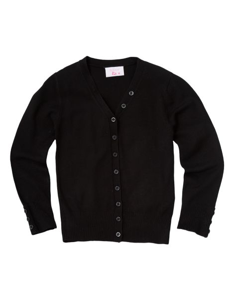 Great for layering this long-sleeved cardigan has a button-up front with ribbed trim.