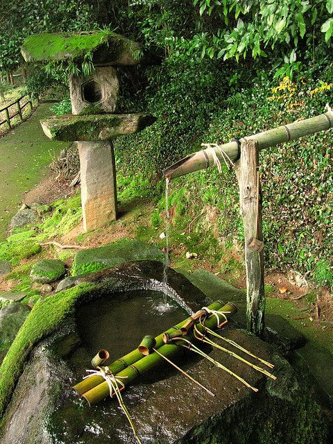 Japanese green garden moss purification water fountain for Japanese bamboo water feature