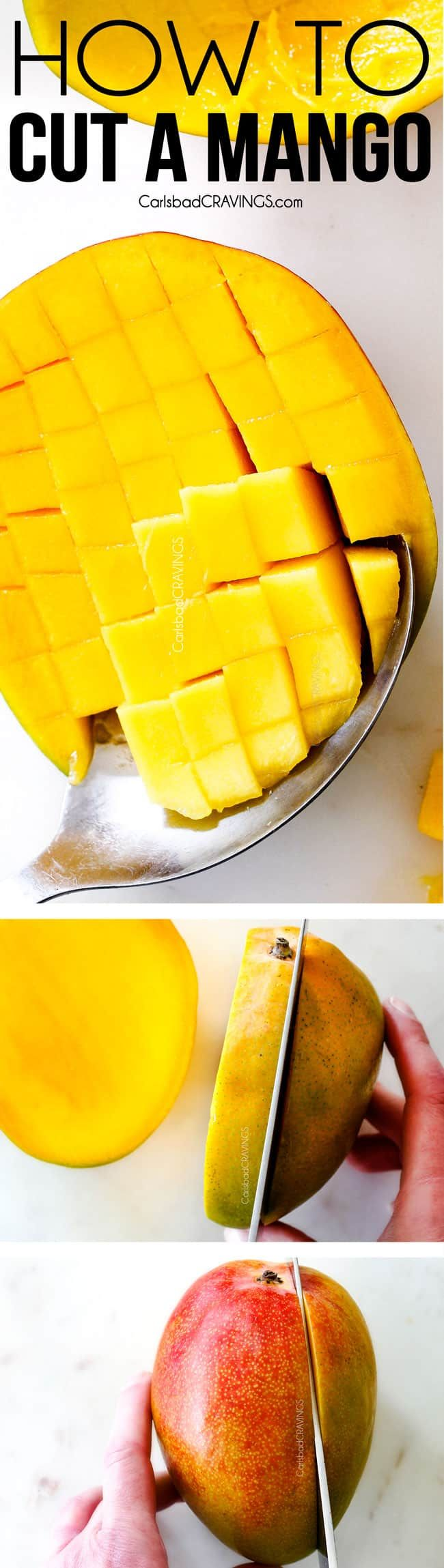 Learn How To cut A Mango like a pro!  And everything you ever wanted to know about How to Tell if a Mango is Ripe, How to Ripen Mangos, How to Store Mangos and Mango Nutrition! via @carlsbadcraving
