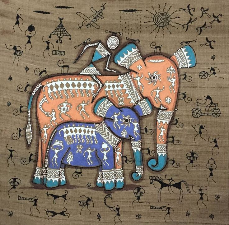 Hand Painted Acrylic Canvas( Saura tribal painting )