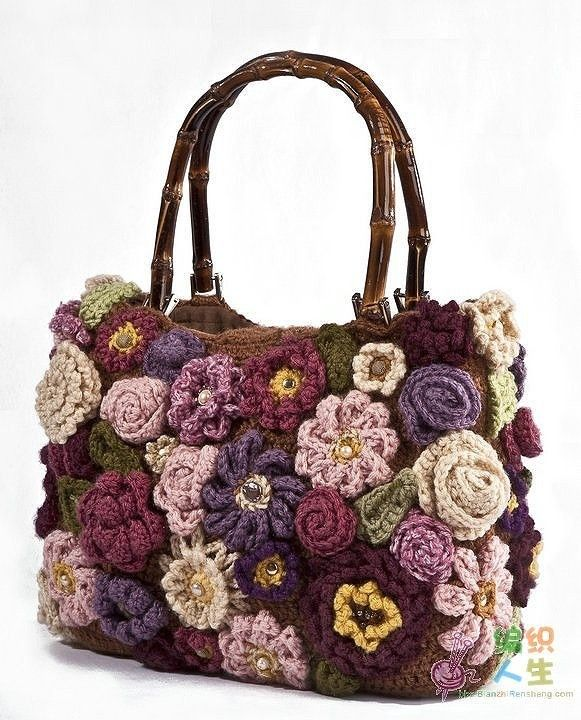 Look at all the different kinds of flowers on this bag! I think Iwould use a less formal style of bag;but the idea is a great one!