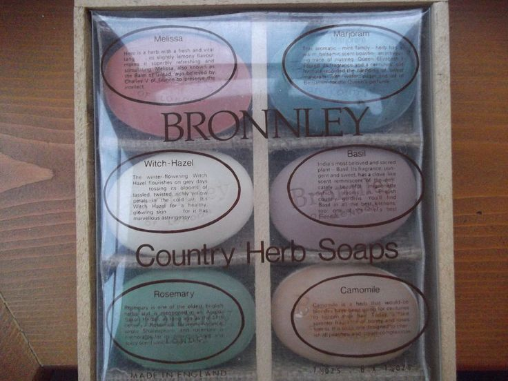 Vintage box of 6 Bronnley Country Herb soaps (1960 s) total weight 7 1/2 oz