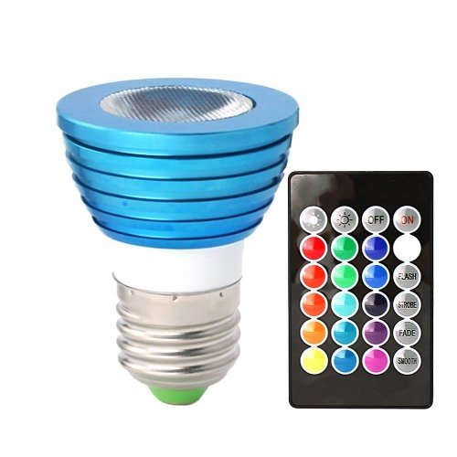 HitLights 3 Watt Color-Changing LED Light Bulb with Remote, 16 Colors at http://suliaszone.com/hitlights-3-watt-color-changing-led-light-bulb-with-remote-16-colors/
