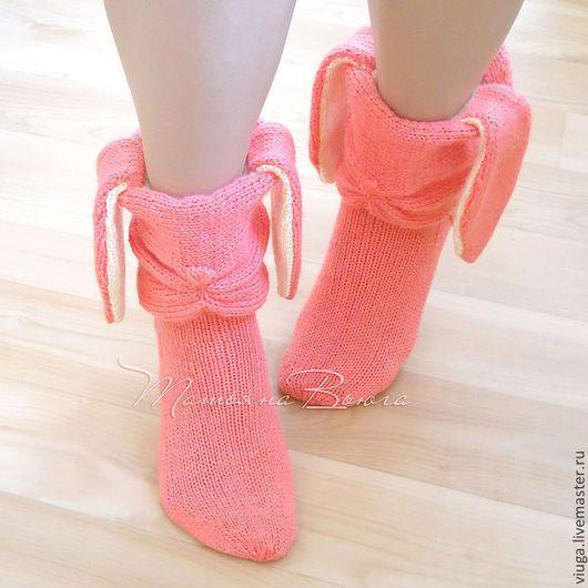 носки вязаные, гетры, связаны спицами, носки для дома, смешные носки с ушкам, носки для девочки, подарок для девушки, домашняя вязаная шерстяная обувь, сапожки для дома, подарок на Новый год