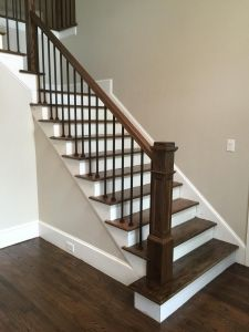 """3/4"""" iron baluster ... use 6"""" box newel down 2 4"""" up (hard maple) - stain to be darkest part of wood floor (sample first) and use wider hard maple hand rail"""