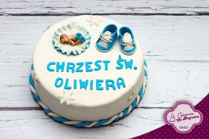 Tort z okazji Chrztu, tort z dzidziusiem, tort dla chłopca z okazji chrztu, tort z bucikami,tort angielski z chrzest, biało niebieski tort z okazji Chrztu