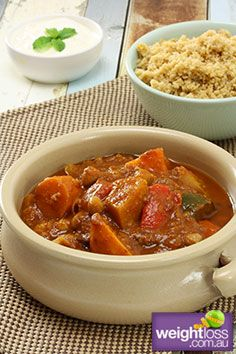 Slow Cooker Recipes: Slow Cooker Moroccan Vegetable Tagine. #HealthyRecipes #DietRecipes #WeightlossRecipes weightloss.com.au