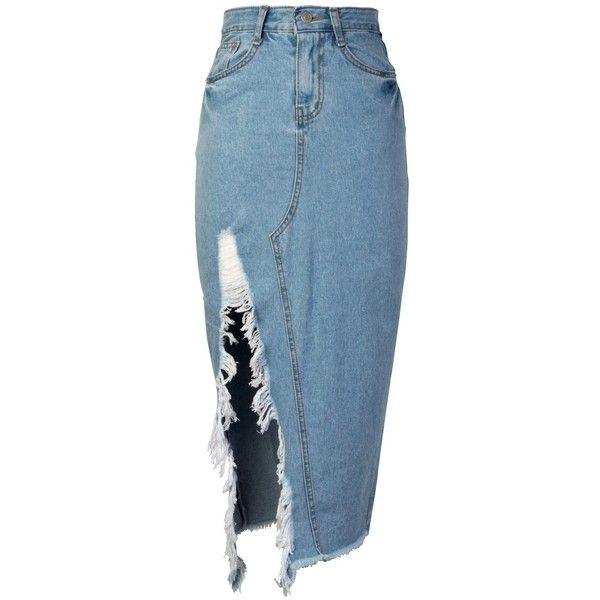 storets Haily Slit Frayed Denim Skirt ($59) ❤ liked on Polyvore featuring skirts, bottoms, storets, blue denim skirt, slit skirt, blue skirt and knee length denim skirt