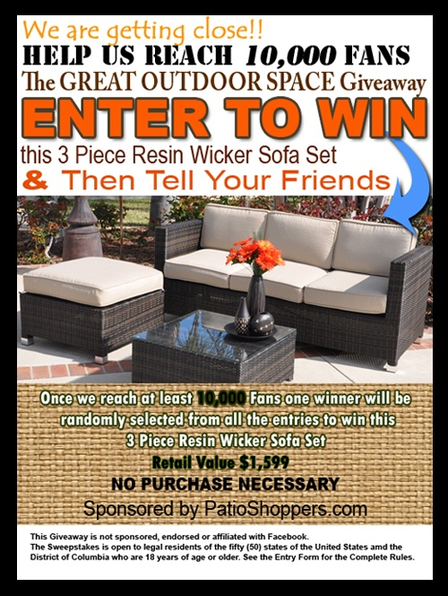 ENTER TO WIN A Free 3 Piece Resin Wicker Sofa Set! Tell All Your Friends