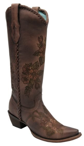 Corral Hand Painted Embossed Flower Cowgirl Boots - Snip Toe - Sheplers