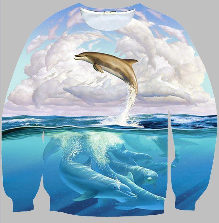 Popular hoodies men/women Dolphin printed hoody men's fashion sweatshirt casual clothes sudaderas sin capucha