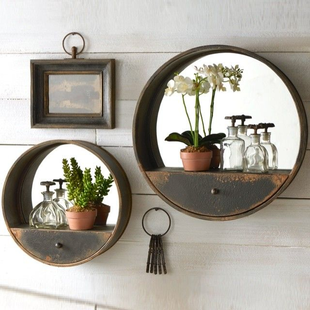 metal wall mirror with shelf and drawer - Interior Design Wall Decor