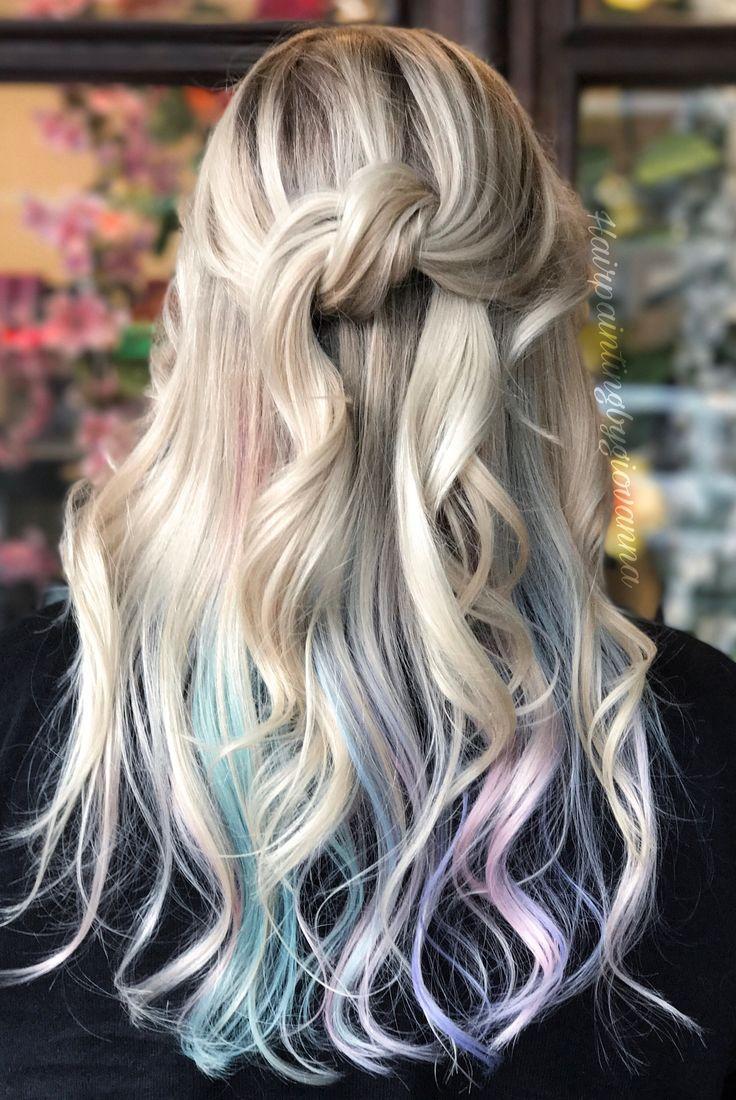 Full highlight with peekaboo pastels! Using #guytang new colors #mydentity! #blonde #pastels #pastelhair #hairinspo #rainbowhair