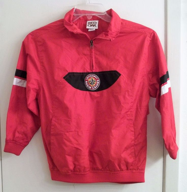 Louisiana-Lafayette Ragin' Cajuns Pullover Windbreaker Jacket Youth Size 8/10  #RedOak #LouisianaLafayetteRaginCajuns