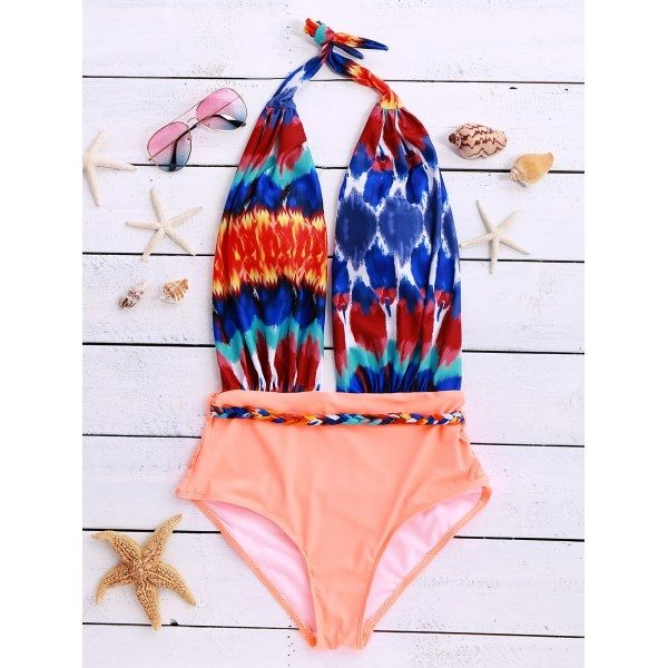 13.89$  Buy here - http://di108.justgood.pw/go.php?t=182000002 - Trendy Halter Backless Spliced Printed One Piece Women's Swimwear