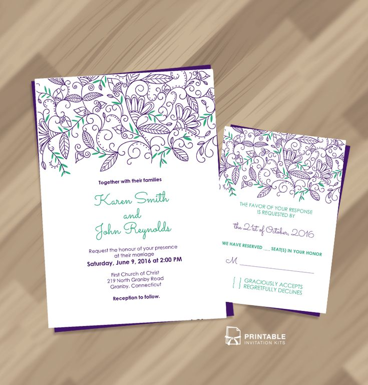 Free PDF Download - Nature Border Modern Wedding Invitation and RSVP - easy to edit, print on demand.