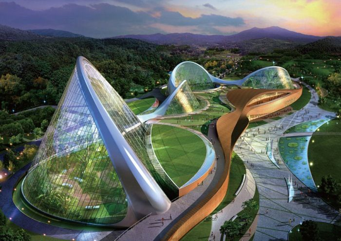 "Modern Architecture - The Ecorium Project (4 pics) _The National Ecological Institute of South Korea recently released plans for a large-scale nature reserve. Designed by architectural firm SAMOO, the ""Ecorium Project"" will be a striking environmental center spread out over a 33,000 square meter area of natural environment."