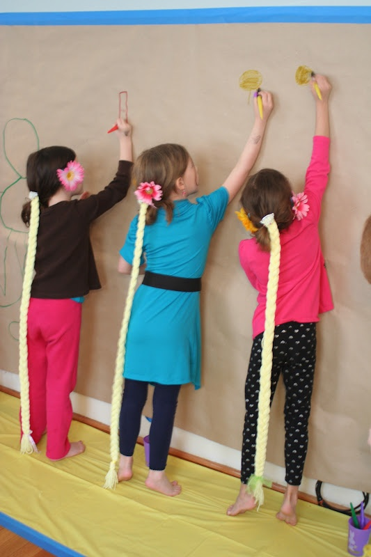 A Very Tangled Birthday Party - paint a wall mural with crayola paint markers and butcher paper