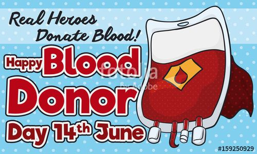 Blood Bag with Cloak like Hero for Blood Donor Day