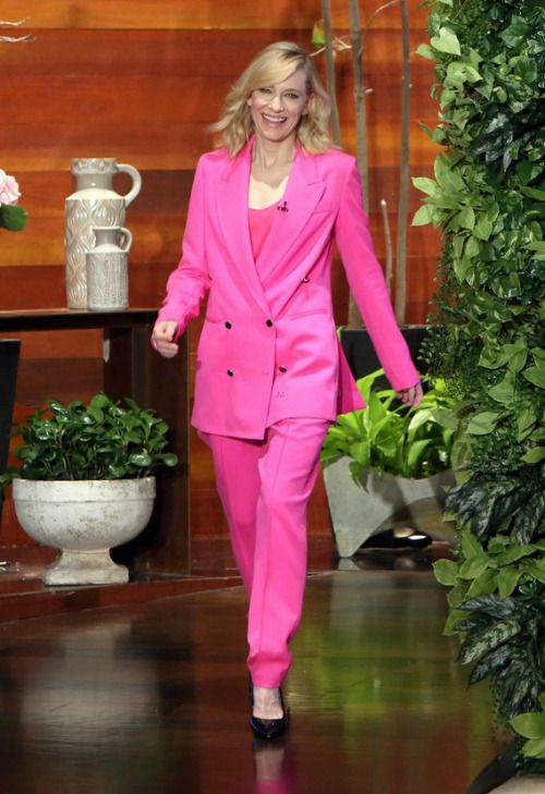 Cate Blanchett on The Ellen DeGeneres Show   Though I admire her courage to  wear such a bright suit and even though I like the color ab083b9c4