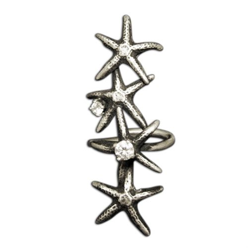Stacked Starfish Ring with CZs.