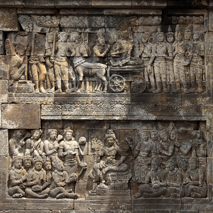Double bast relief in Borobudur,Buddhist Temple in Java  Indonesia.