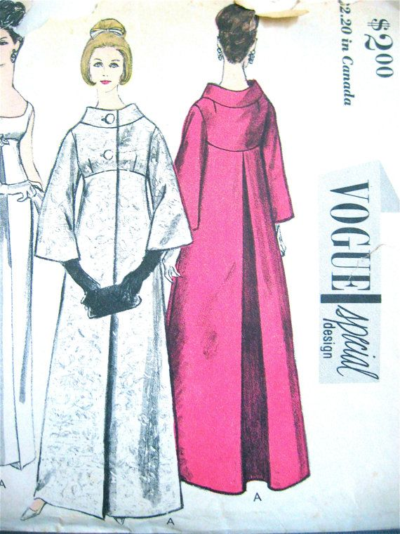 Vintage 1960s Vogue Special Design Sewing Pattern 6084. Bust is 32 inches Hip 34 Misses Dress and Coat: One-Piece Dress and Coat. Slim skirt and overskirt in two lengths joins Empire bodice. Long fitted sleeves, short sleeves, and sleeveless. Optional, bow tied belt. Coat in two lengths with center back inverted pleat buttons below away - from - neckline standing band collar. Flared, below-elbow-length sleeves. Partially cut and complete with instructions. No label. Patterns envelope h...