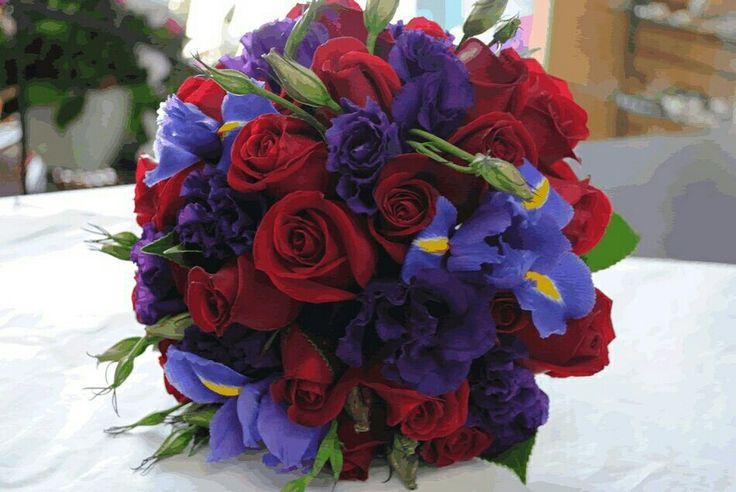 Red Roses, Purple Lisianthus, Blue-Violet/Yellow Iris, Green Foliage Wedding Bouquet
