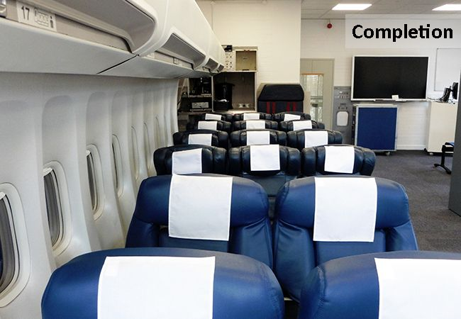Bespoke Mock Up Airplane Facilities for Educational Purposes  www.rapinteriors.com Photography by RAP Interiors