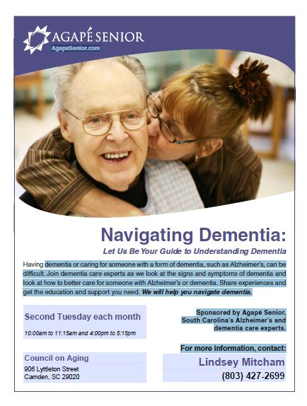 Come check out our monthly Dementia Seminars open to the public! For more information contact 803-424-2519.
