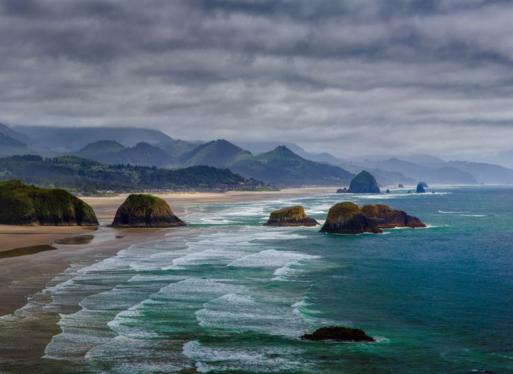 Cannon Beach, Oregon -brimming with art galleries, shingled storefronts and charming restaurants. The area's abundance of natural scenery, more than 5 miles of sand between Ecola Creek and Arch Cape for views of Haystack Rock, bike the 16-mile trail to Manzanita, see dramatic coastal views in Oswald West State Park. Grab a bite at Lazy Susan Café, check out the White Bird Gallery. Rest your head at The Ocean Lodge, an affordable family-friendly resort with 45 water-facing rooms.