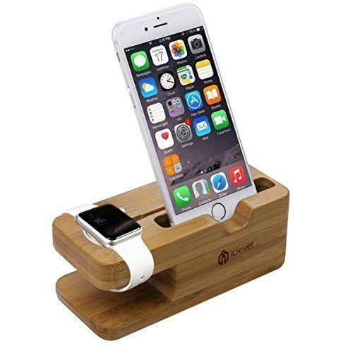 2 in 1 Bamboo Wood Charging Stand Docking Station Iphone Android Cellphone Watch