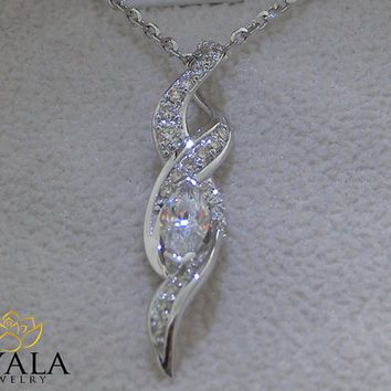 14K White Gold Diamond Pendant,Unique Pendant,Marq…