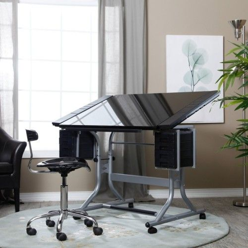 18 Drafting Tables In Interior Designs Interiorforlife Glass Top Art And Drawing Table