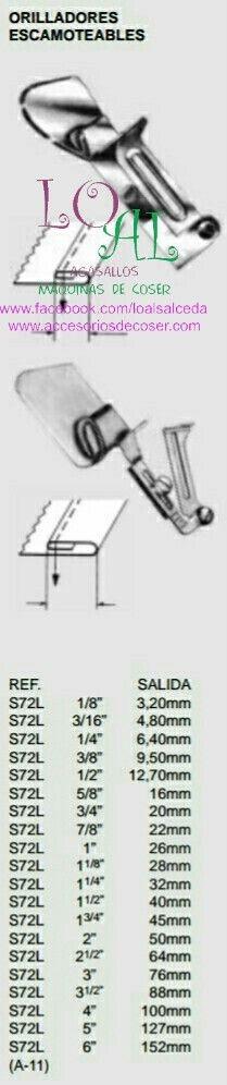 Embudo para hacer dobladillo en máquinas de coser industriales, sirve para todas las marcas, refrey, brother, juki, alfa, singer, fomax, Jack, y otras muchas máquinas de coser.