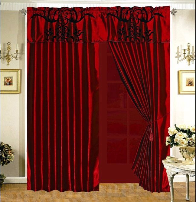 Details about 3-Layer Modern Flock Satin Black Burgundy Red Faux Silk Curtain Set