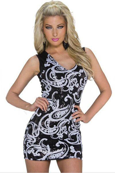 White Floral Sequin Black Milk Mini Club Dress