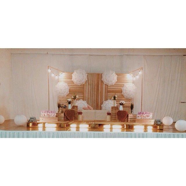 wedding, pelamin, wedding dais, dais, diy, pallet, rustic wedding, malaysia, malay wedding, rustic, kahwin, tunang, engagement, lace umbrella, lace parasol, hipster wedding, light bulb, pastel wedding