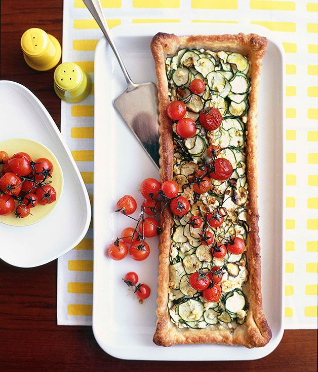 Australian Gourmet Traveller lunch entree recipe for zucchini and feta tart with roasted cherry tomatoes