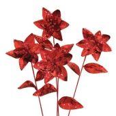 150mm Red sequin glitter Poinsettia flower  Code: PONT015RSWG