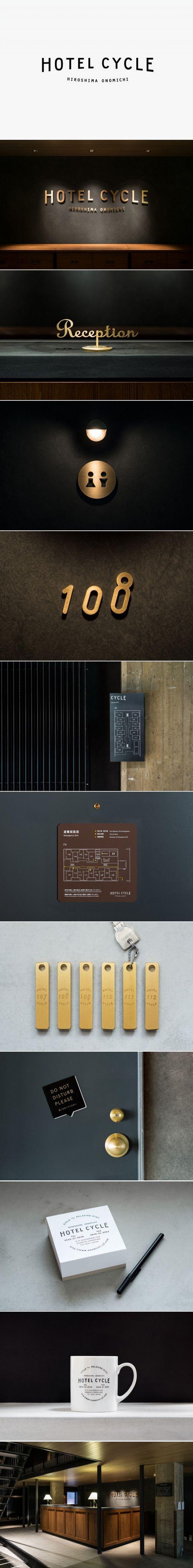 Logotype and interior signage designed by UMA for U2's Onomichi based Hotel Cycle: