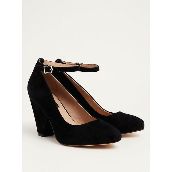 Torrid Wide Cone Heel Ankle Strap Heels - Wide Width (€50) ❤ liked on Polyvore featuring shoes, pumps, wide black pumps, black pointy-toe pumps, black leather shoes, black high heel pumps and black ankle strap pumps
