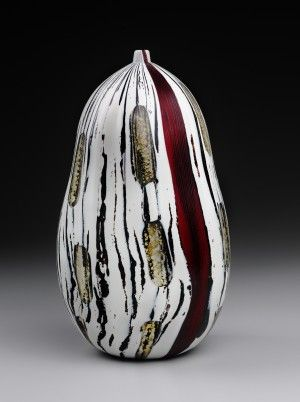 "Yoichi Ohira, ""Fili Neri con Capelli Rossi d'Angelo"", Japanese, 2002. Hand blown glass with powder inserts and gold leaf, battuto surface. The Daphne Farago Collection"