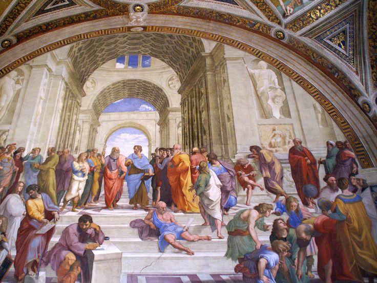 Vatikanische Museen, Stanza della Segnatura, Die Schule von Athen von Raffael (Room of the Signature, The School of Athens by Raphael)