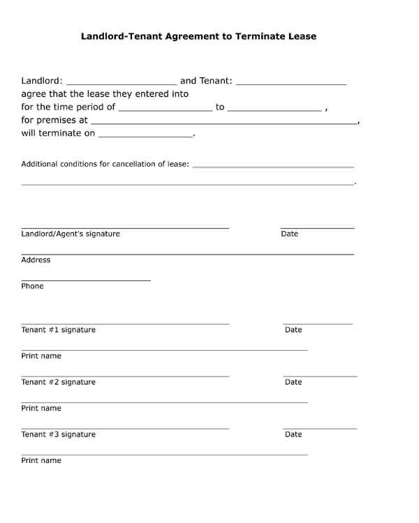 Free printable, black and white, pdf form. Landlord, tenant agreement to terminate lease.