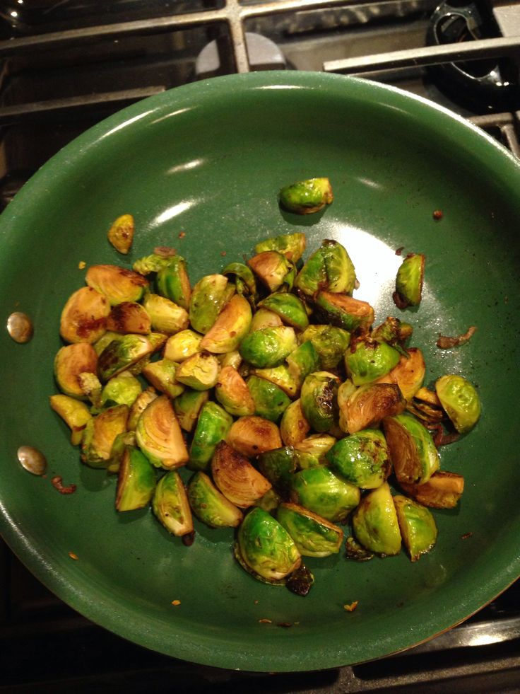 Balsamic glazed pan seared Brussels sprouts