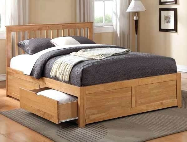 Good Full Size Wood Bed Frame With Drawers Pictures Full Size
