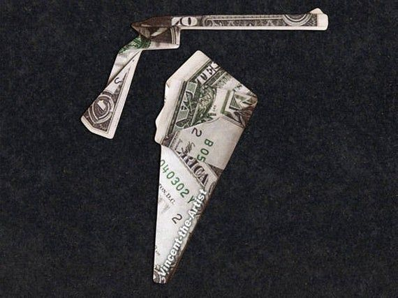 GUN and HOLSTER Money Origami – Weapon made of real Dollar Bills