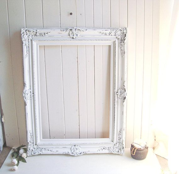 Large White Frame Vintage Ornate Rustic White Frame Shabby Chic Frame Wedding Frame Farmhouse Antique White Wo Frame Shabby Rustic White Shabby Chic Frames