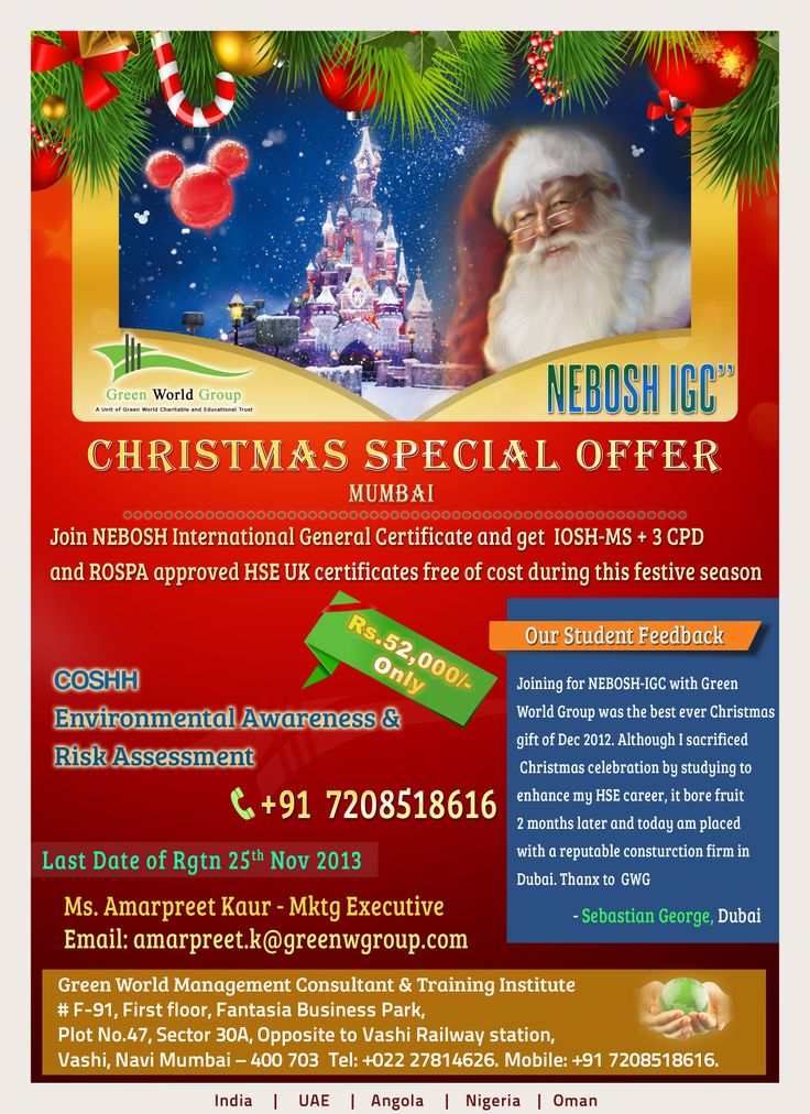 Green World Groups Christmas Special Offer For Nebosh IGC Courses In Mumbai And With Specialized 3